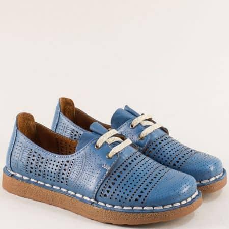 Дамски обувки от естествена кожа в синьо с перфорация 50114s
