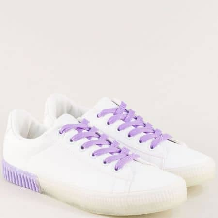 Дамски бели кецове с лилави връзки 5013lb