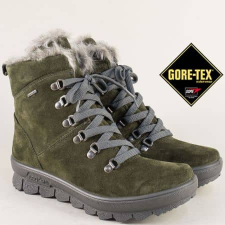Зелени дамски боти на платформа с Gore- Tex мембрана 50336vz