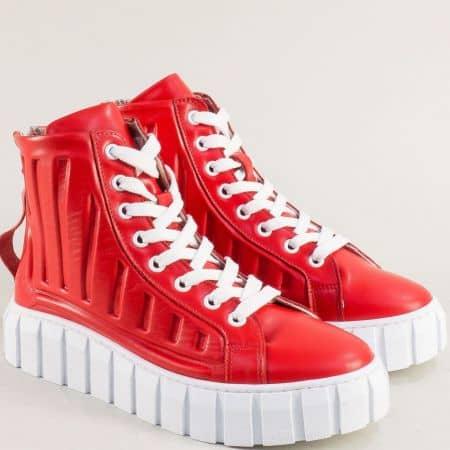 Дамски боти на платформа в червен цвят 5040chv