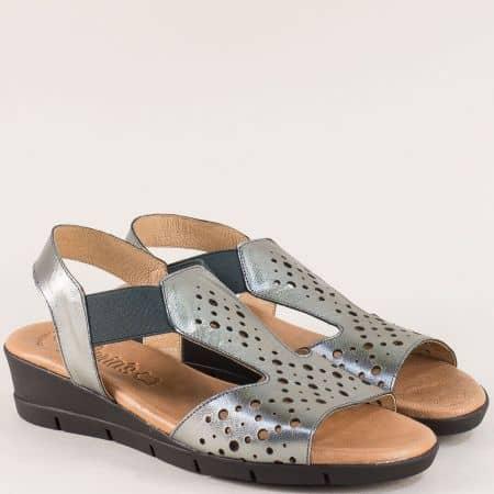 Бронзови дамски сандали на клин ходило с кожена стелка 5054brz