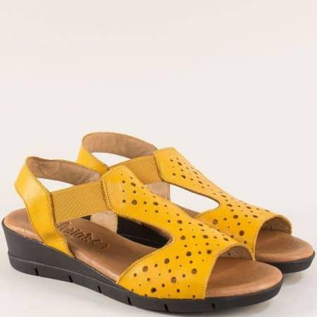 Жълти дамски сандали 100% естествена кожа от Испания 5054j