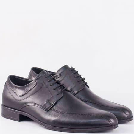 Мъжки обувки с връзки от черна естествена кожа- български производител 50592001ch