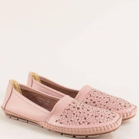 Равни дамски обувки в розов цвят с флорален принт 506008rz