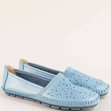 Дамски обувки на равно ходило в светло син цвят 506008s