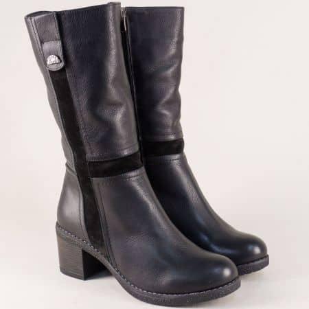 Черни дамски ботуши от естествен велур и кожа на ток 5062250ch