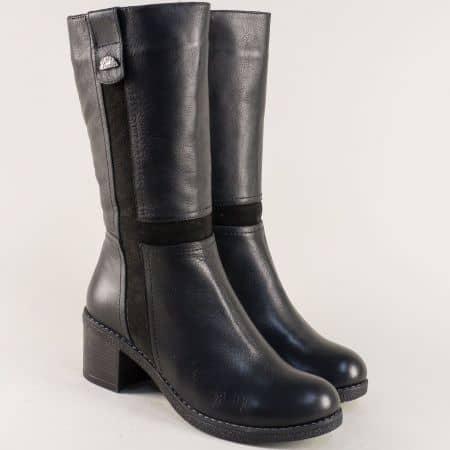 Дамски ботуши в черен цвят с естествен агнешки хастар 5062250ech