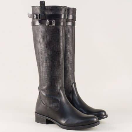 Български дамски ботуши на нисък ток в черен цвят 50661ch