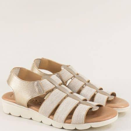 Кожени дамски сандали в сиво и бежово с ластици 5071bj