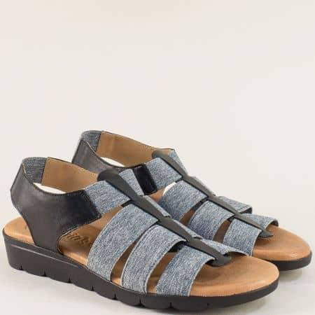 Дамски сандали в сиво и черно с кожена стелка и ластик 5071ch
