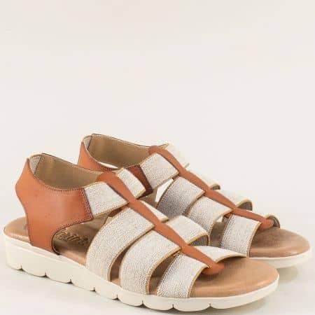 Кожени дамски сандали с ластици в сиво и кафяво  5071k