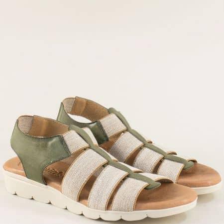 Испански дамски сандали от естествена кожа в зелен цвят с ластици 5071z