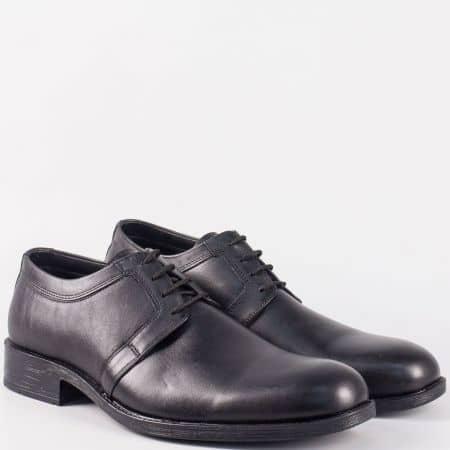 Мъжки елегантни обувки с връзки от черна естествена кожа 5072ch