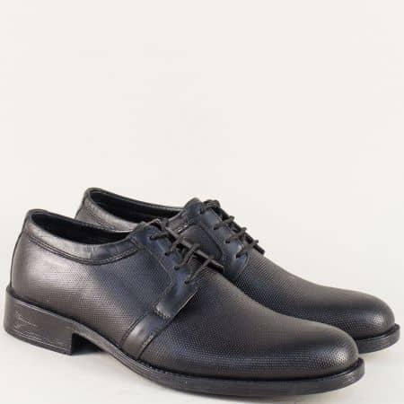 Кожени мъжки обувки с връзки и кожена стелка в черно 5072dch