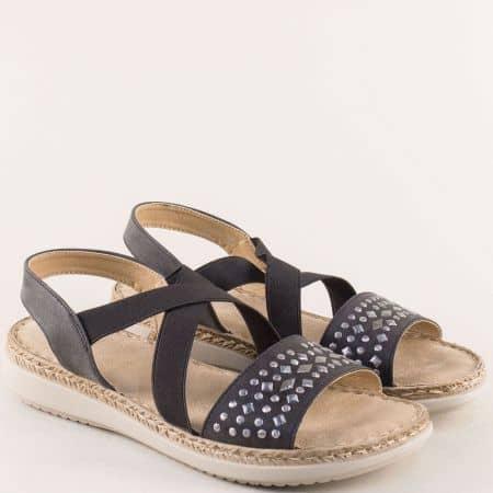 Дамски сандали с ластик в черен цвят- MAT STAR 508002ch