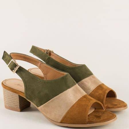 Дамски сандали в комбинация от три цвята на ток 508012kps