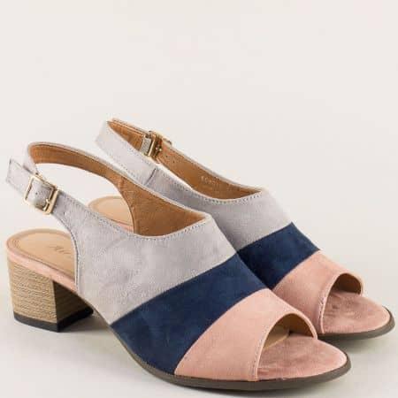 Дамски сандали на среден ток в комбинация от цветове 508012svps
