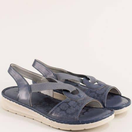 Сини дамски сандали с ластик на рвно ходило- MAT STAR 508031s