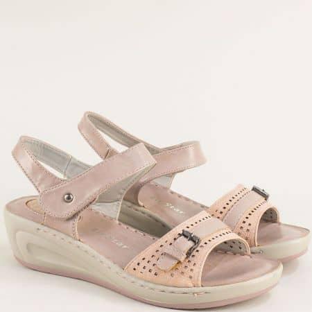 Дамски сандали на клин ходило в розов цвят- MAT STAR 508034rz