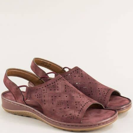 Дамски сандали в цвят бордо на удобно ходило- MAT STAR 508047bd