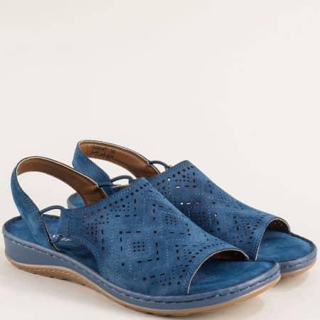 Дамски сандали на шито ходило в син цвят- MAT STAR 508047s