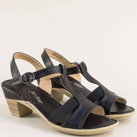 Черни дамски сандали на среден ток 508050ch