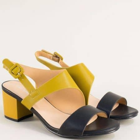 Дамски сандали в черно и жълто на среден ток 508052chj