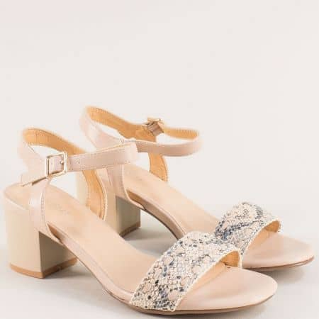 Дамски сандали на среден ток в бежов цвят- MAT STAR 508053bj
