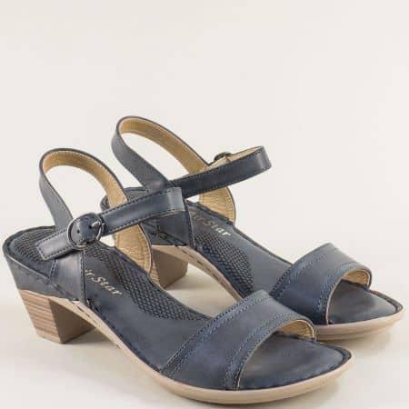 Дамски сандали на среден ток в тъмно син цвят- MAT STAR 508076s