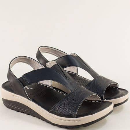 Дамски сандали с ластик на платформа- MAT STAR в черен цвят 508077ch