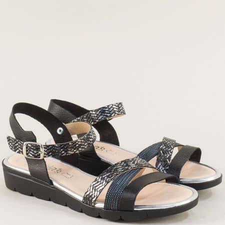 Дамски черни сандали от естествена кожа на равно ходило от Испания 5083ch