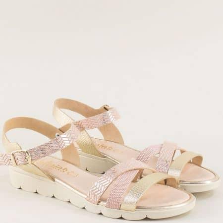 Дамски сандали в злато и розово с кожена стелка 5083rzzl