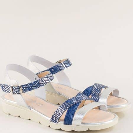 Дамски сандали от естествена кожа в сребро и синьо 5083srs