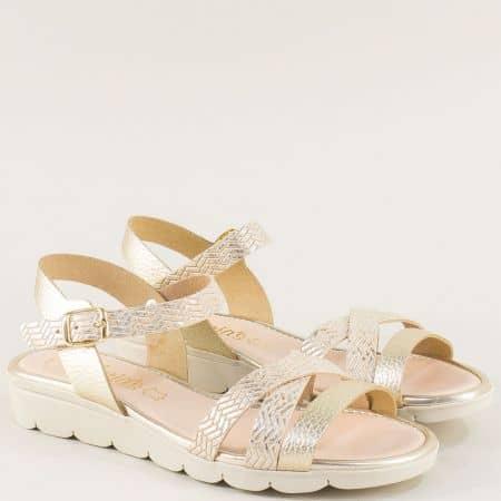 Златисти дамски сандали от естествена кожа на испански производител 5083zl