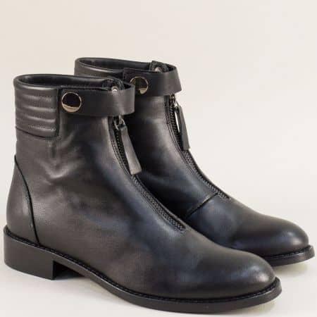 Черни дамски боти от естествена кожа с цип отпред 5086ch