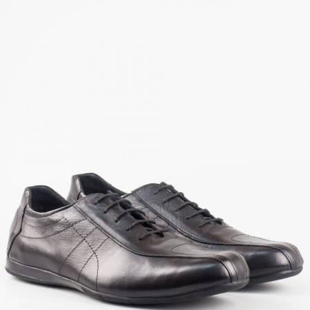 Спортно елегантни обувки от естествена кожа с връзки в черен цвят 50871503ch