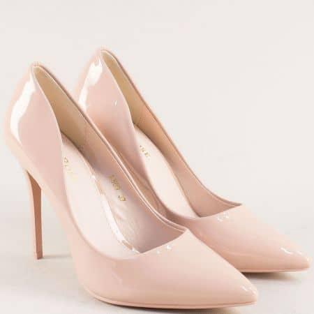 Бежови дамски обувки със заострен връх на висок ток 509lbj