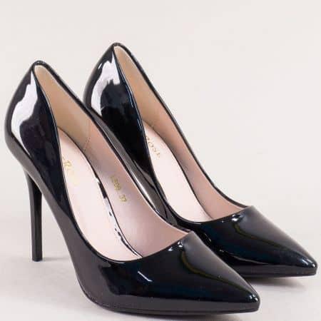 Черни дамски обувки със заострен връх на висок ток 509lch