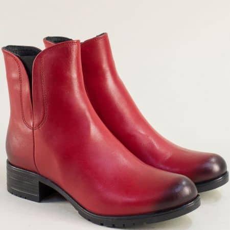 Червени дамски боти от естествена кожа на ток 5100chv