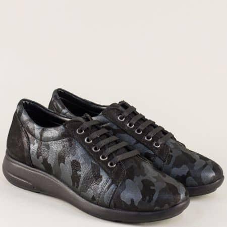 Дамски обувки в черен цвят с връзки и кожена стелка 510198ch