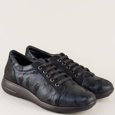Сини дамски обувки от естествена кожа с перлен блясък 510198s