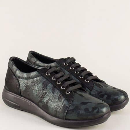 Кожени дамски обувки на равно ходило в зелен цвят 510198z