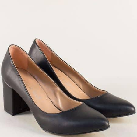 Дамски обувки на стабилен среден ток в черен цвят 5101ch
