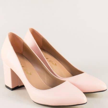 Дамски обувки на среден ток в розов цвят 5101rz