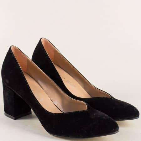 Дамски обувки в черен цвят на стабилен висок ток 5102vch