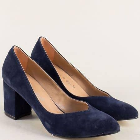 Тъмно сини дамски обувки на стабилен висок ток 5102vs