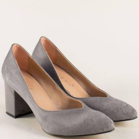 Дамски обувки в сив цвят на висок ток 5102vsv