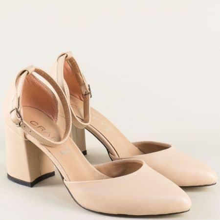 Бежови дамски сандали със затворени пръсти и пета  5103bj