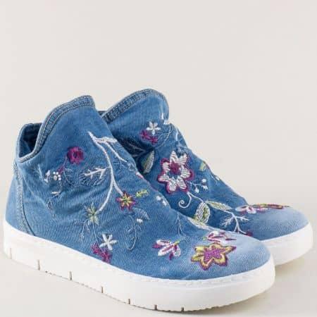 Шити дамски кецове с флорални мотиви в син цвят n510ds