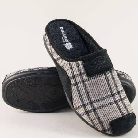 Мъжки пантофи в сив цвят на марка Dinamik 51155sv